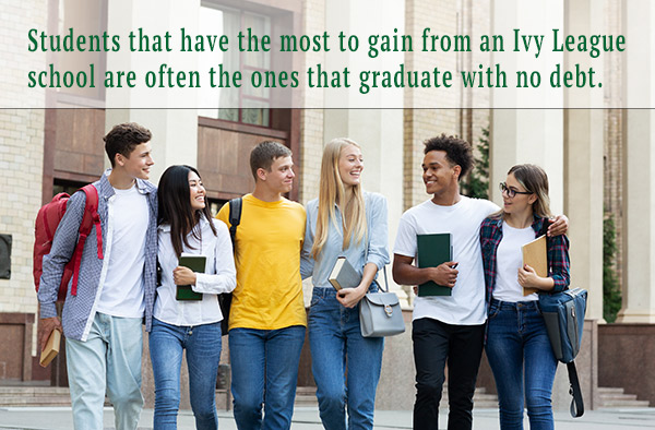 Students that have the most to gain from an Ivy League school are often the ones that graduate with no debt.
